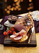 Roast ham with bread for Christmas dinner