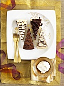 Various types of chocolate cake for Christmas dinner