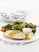 Crab with mayonnaise and salad