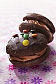 Chocolate whoopie pies with colourful chocolate beans