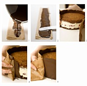Chocolate cake being prepared