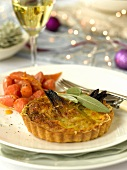 Shallot and cheese tartlet with glazed carrots