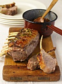 Lamb chops with thyme and a honey glaze