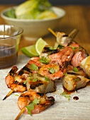 Seafood with a teryaki and honey marinade