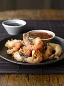 Prawns baked in tempura