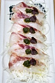 Sea bass fillets with salsa verde and shiso