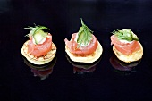 Blinis with smoked salmon, cream cheese, cucumber and dill