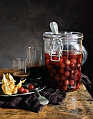 Grapes preserved in a jar