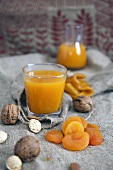 Apricot juice, dried apricots and nuts