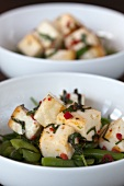 Bean salad with haloumi and chilli