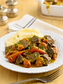 Beef ragout with carrots and mashed potato