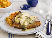 Pork chop with celery and vegetable puree