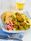 Vegetable curry with flatbread