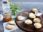 Scones with apricot-truffle honey and basil
