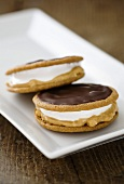 Moon pies (biscuits with a marshmallow filling) with chocolate icing and peanut butter