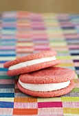 Strawberry moon pies with a marshmallow filling