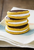 Banana moon pies with a marshmallow filling and chocolate icing