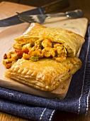 Pastry with a curried chicken filling