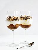 Parfaits with yogurt, rhubarb, nuts and seeds