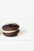Chocolate whoopie pies, filled with caramel cream