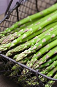 Fresh green asparagus stalks in a wire basket