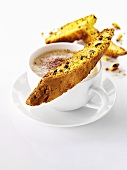 Almond biscotti and a cup of cappuccino