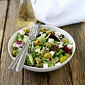 Mixed leaf salad with feta and olives