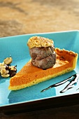 Venison medallions with a hazelnut crust and pumpkin tart