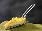 A slice of cheese pie with salmon and dill (Sweden)