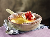 Quark souffle with strawberries (Sweden)