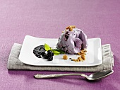 Blueberry ice cream with cardamom and whiskey