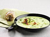 Broad bean soup with dill and horseradish cream