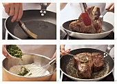 Porterhouse steak with herb butter being prepared
