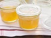 Clear goose stock in preserving jars
