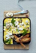 Artichoke and ricotta fritata with broad beans
