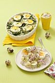 Spinach and egg bake and potato and egg salad with tatar sauce