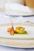Country omelette with cucumber and crayfish