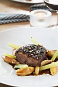Goose breast confit with glazed apples