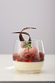 Buttermilk cream with fruits of the forests and strawberry sorbet