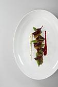 Glazed beetroot with stinging nettle brittle