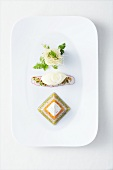 Jellied tartlet of prime boiled beef with dandelion ice cream and chervil