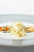 Mit Mascarponecreme gefüllte Calamaretti auf Tomatenrisotto