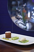 Small lime cake, lime-dill jelly and white chocolate ice cream