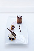 Moelleux au chocolat with buttermilk and blueberry ice cream