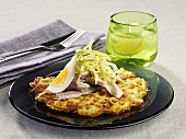 Waffles with whitefish fillet and egg