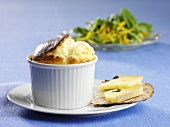Caviar souffle and crispbreads with cheese