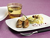 Fried herring with mashed potatoes, mushrooms and lingonberry sauce