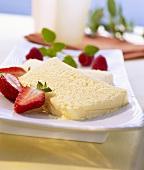 Zabaione ice cream with strawberries