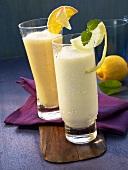 Lemon yogurt shake and a vitamin shake
