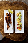 Grilled chicken kebabs with a fruity cucumber salad